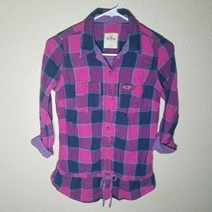 Hollister Tunic Top S Plaid Roll Up Sleeve Tie